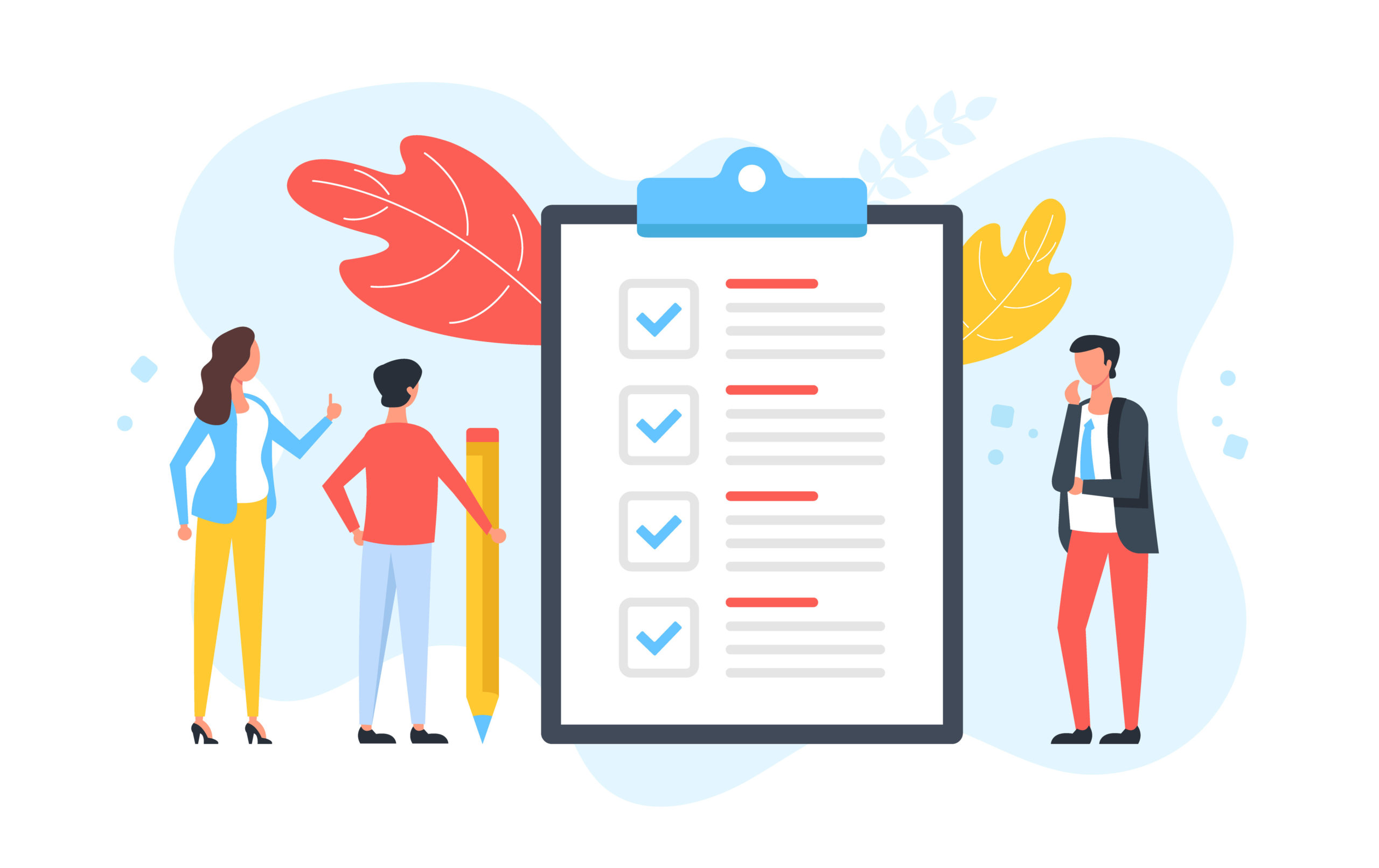 hecklist. Group of people and clipboard with check list and checkmarks. Business plan, marketing strategy, survey, complete tasks, teamwork success concepts. Modern flat design. Vector illustration